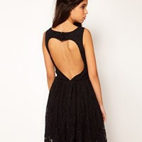 Rare Lace Skater Dress With Heart Cut Out Back at asos.com