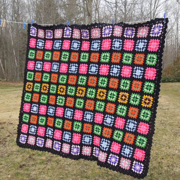 "Vintage crochet blanket afghan throw with colorful granny squares and black border 59"" x 49"""