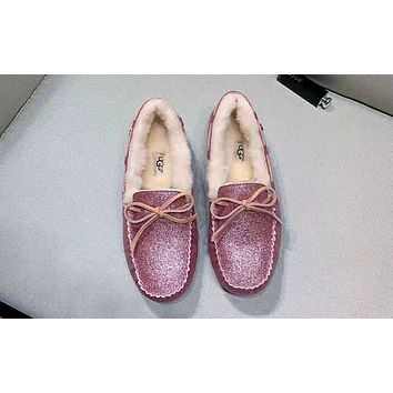 UGG winter new peas shoes waterproof sequins rhinestone non-slip cotton shoes red
