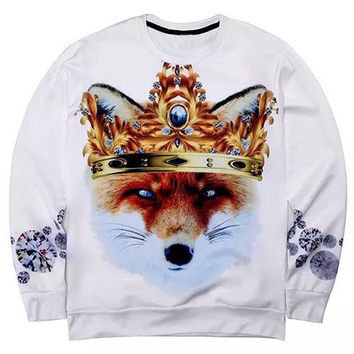 3D Rhinestone Crown and Fox Print Round Neck Long Sleeve Sweatshirt