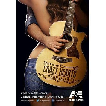 Crazy Hearts Nashville poster Metal Sign Wall Art 8in x 12in