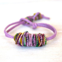 Yarn Bracelet - Copper-Fiber-Bead