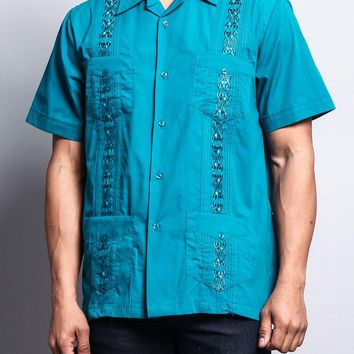 Men's Short Sleeve Cuban Style Guayabera Shirt 2000-1 (Teal)
