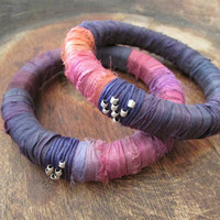 Sari Silk Boho Bangles, Purple Fuchia Bracelets, Fabric Wrapped Eco friendly