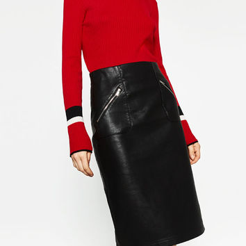 FAUX LEATHER PENCIL SKIRT DETAILS