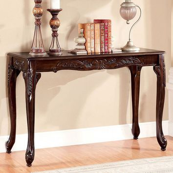 Cheshire collection dark cherry finish wood sofa console entry table