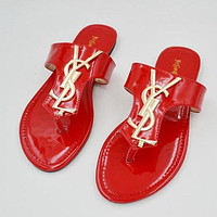 YSL Yves Saint Fashion Trendy Women Sandals Slippers F0276-1 Red