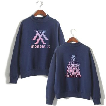 MONSTA X Women Pullovers Kpop Korean Style Casual Hoodies Sweatshirts Fashion And Cool Turtlenecks Hoodies