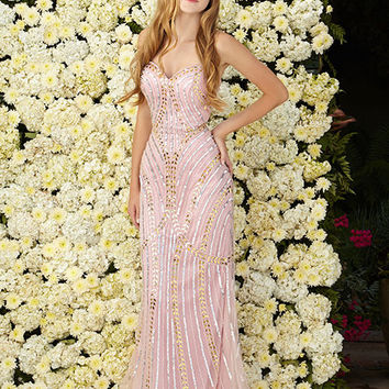 G2089 Beaded Rose Strapless Prom Dress Evening Gown