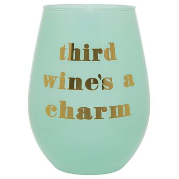 Third Wine's A Charm Stemless Wine Glass in Soft Blue and Gold