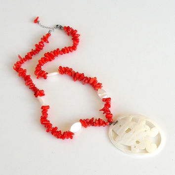 Vintage Red Branch Coral Necklace With Mother of Pearl Pendant