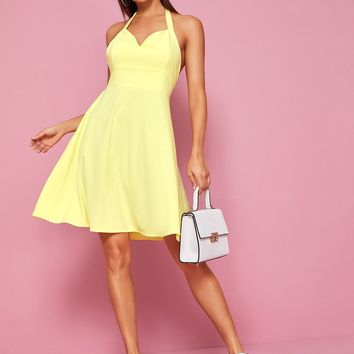 Tie Back Halter Neck Skater Dress