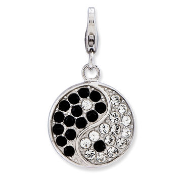Sterling Silver Enameled 3-D Yin Yang Sign w/Lobster Clasp Charm QCC736