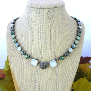 DIANELLA- Swarovski crystal necklace, 8mm and 12mm cushion cut, mint green and white opal, Siggy necklace