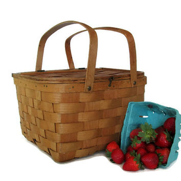 Vintage Wooden Pie Picnic Basket, Split Oak Woven Bent Wood Handles