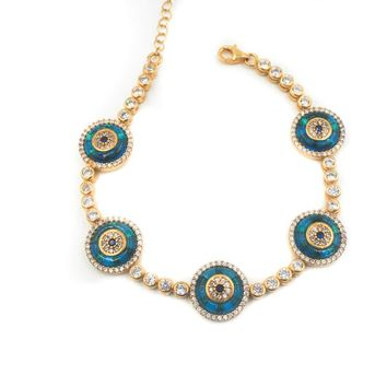 Natalia Glass Evil Eye Tennis Bracelet gold