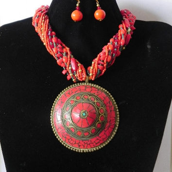 Necklaces -  ETHENIC INDIAN  multy strands glass beads Pendant  necklace with earings set