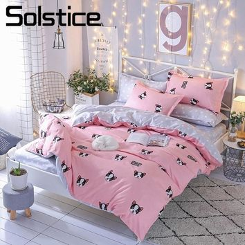Solstice Home Textile Cartoon Bulldog Bedding Sets Girl Pink Bed Linen Duvet Cover Bed Sheet Pillowcase 3/4Pcs King Queen Size