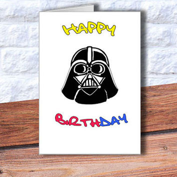 Darth Vader Birthday card INSTANT DOWNLOAD Happy Birthday card Star Wars Birthday card printable card Darth Vader greeting card DIY cards