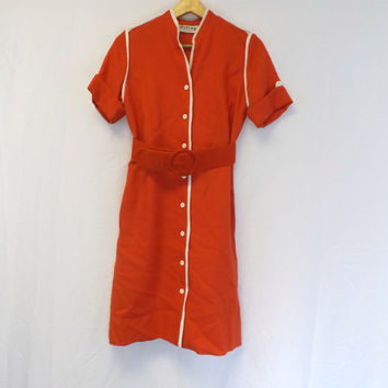 Vintage Retro 60s 70s Orange Shirt Dress Short Sleeve Belted A line Shape Tea Dress Fun Flirty Boho Hipster 50s Diner Mod Flight Attendant