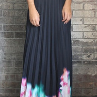 Flower Garden Pleated Maxi Skirt