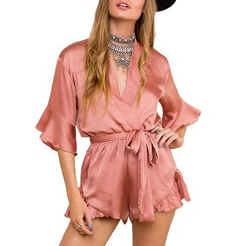 Summer 2016 Satin Sleepwear Ruffles Elegant Women Jumpsuit Romper Deep V Neck Long Sleeve Sexy Playsuit Pink Bow Beach Overalls