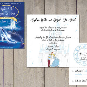 Wedding invitation Set Cinderella - Save the Date, Invitation, RSVP - Digital file