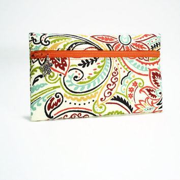 Paisley Print Clutch or Wallet, Zippered Makeup Clutch, Zippered Wallet, Orange Cream Aqua Paisley Print Wallet, Paisley Zip Clutch