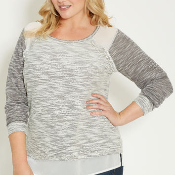 plus size marled pullover with chiffon and embellishments