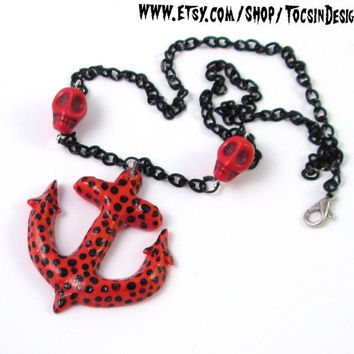 ANCHOR NECKLACE hello sailor rockabilly pin up polka dot anchor retro skulls tattoo necklace