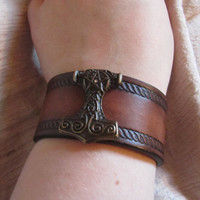 Leather Bracelet, Rope Edge, Thors Hammer, Brown and Antique
