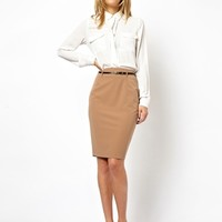 ASOS Belted Pencil Skirt - Camel