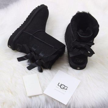DCCKGV7 Best Online Sale Ugg 1016225 Ribbon Bow Black Classic Bailey Bow II Boot Snow Boots