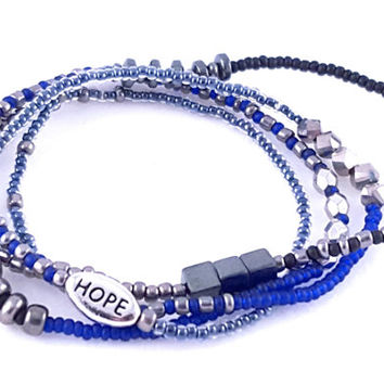 Navy Seed Bead Wrap Bracelet // Silver Faceted Beads // Hematite // Hope Charm // Stretch Bracelet
