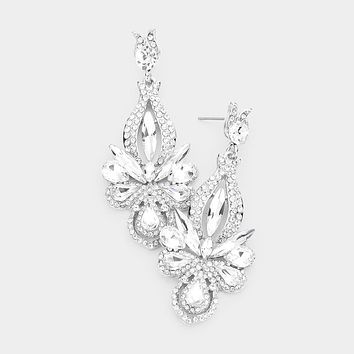 Crystal Marquise Cluster Rhinestone Pave Evening Earrings