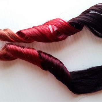 Ginger Kick #1B 100% Human Hair Ombre clip Extensions crimson Red Orange Ginger
