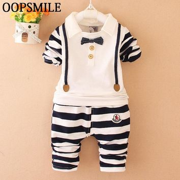 Baby girls clothes bow tie bebes Suits Infant/Newborn baby boys Clothes Sets Kids T-shirt+striped Pants Sets Children Suits