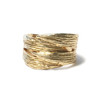 Double Leaf Wrap-Over Recycled Brass Ring