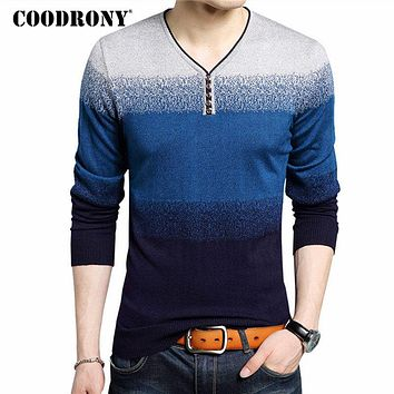 Fashion Henry Collar Sweater Male Cotton Wool Men Sweaters Striped Print Pullover Men V-Neck Pull Home