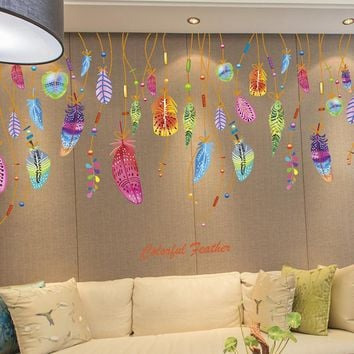 JY 21 Mosunx Business 2016 Hot Selling Feather Wall Sticker Classic Dream Catcher Sofa Art Decal Mural Lucky Room Decor