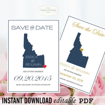 Idaho State Map Save the Date Editable PDF Templates - Idaho Navy State Map Save the Date Printable - Instant Download - DIY You Print