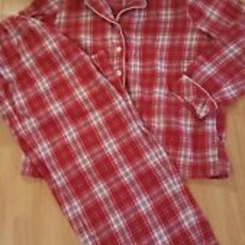 VICTORIAS SECRET red plaid FLANNEL  2 PC PAJAMAS   MEDIUM   M
