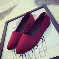Pointed Toe Flat Stylish Suede Shoes [8865373260]