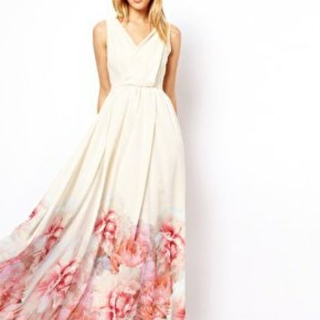 Mango Floral Hem Maxi Dress at asos.com