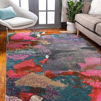 0145 Multi Color Over-Dyed Abstract Contemporary Area Rugs