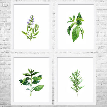 Watercolor Herbs Prints, Kitchen Wall Art Set of 4 Prints, Kitchen Poster Print, Food Art, Kitchen Paintings, Herbs Watercolor Painting