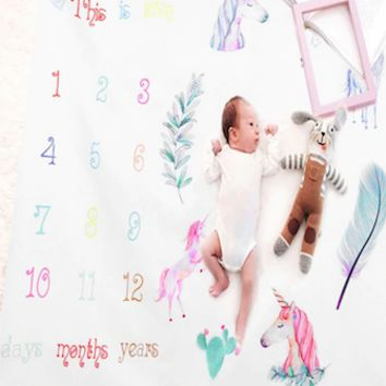 Baby Monthly Milestone First Year Baby Milestone Backdrop Blanket  Photo Prop - CC411