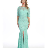 Mint Lace & Sequin Sleeved Gown 2015 Prom Dresses