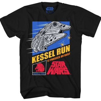 Star Wars Force Episode 1 2 3 4 5  Millennium Falcon Han Solo Chewbacca Chewie Kessel Runer Video Game Funny T Shirt Pun Mens Adult Graphic Tee T-shirt AT_72_6
