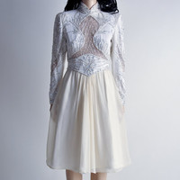 art deco silk and sheer cutout beaded cocktail party dress / s